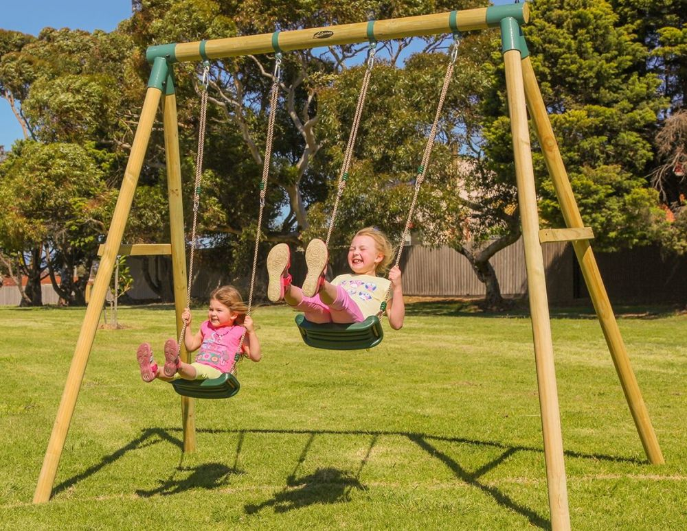 Aussie Action Kids Wooden Twin Swing Set